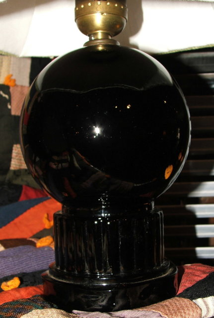 Black Amethyst Glass Lamp & Custom Shade