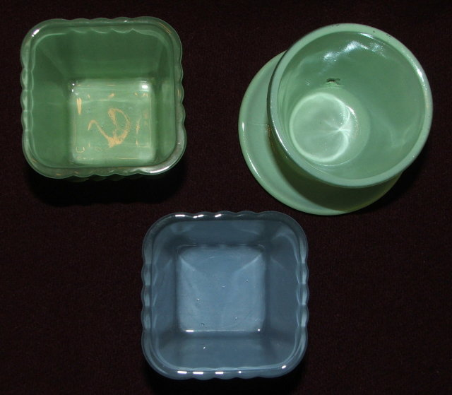 Set of Three Vintage Miniature Glass Flower Pots