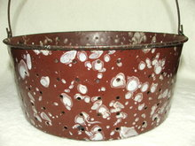 Antique Brown & White Spatter Graniteware Colander