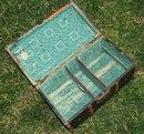 Antique Wooden Flat Top Doll Trunk