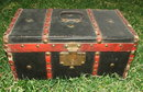 Antique Wooden Flat Top Doll Trunk
