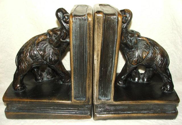 Vintage / Antique Chalkware Elephant Bookends