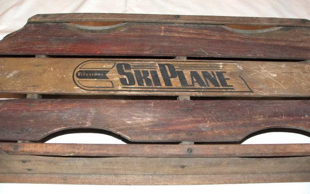 Vintage / Antique Firestone Ski Plane Wooden Sled