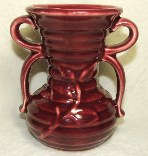Vintage Shawnee Burgundy Bow Handle Vase