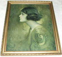 Framed Antique Charles Bosseron Chambers Portrait of Young Woman Print
