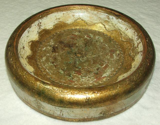 Vintage Florentine Round Wooden Charger