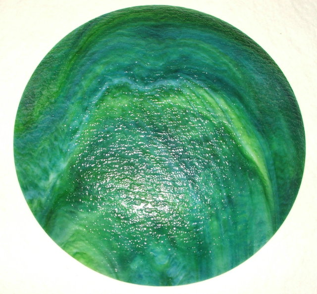 Vintage  Kokomo Opalescent Jade Green & Blue  Glass Decorative Plate with Applied Gold Floral Design