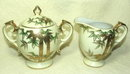 Vintage Craftsman China Gold Encrusted Bamboo Sugar & Creamer