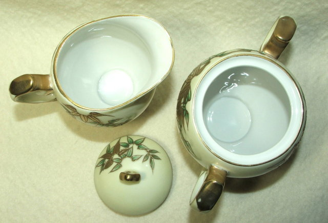 Vintage Craftsman China Gold Encrusted Bamboo Sugar & Creamer
