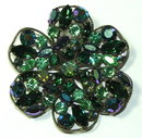 Brilliant Regency Peridot Green & Meridian Blue Rhinestone Brooch Pin