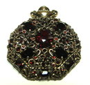 1951 Hollycraft Ruby Rhinestone Brooch with Antique Goldtone Setting