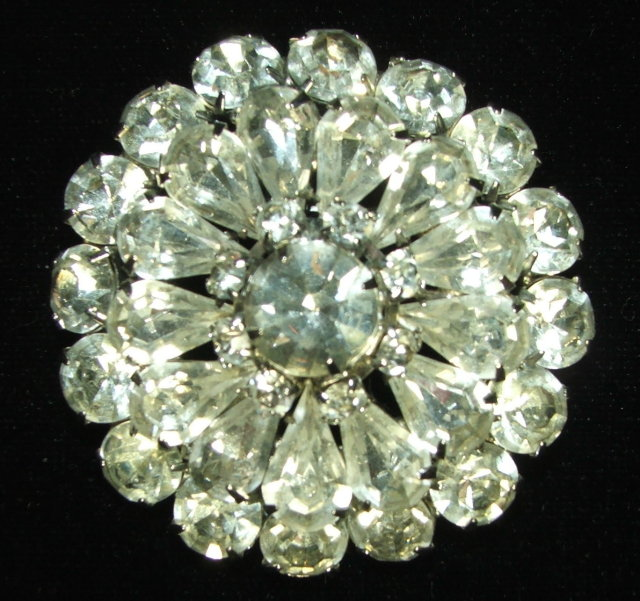 Vintage Prong-Set Rhinestone Starburst Flower Brooch Pin