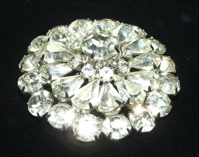 Vintage Prong-Set Rhinestone Starburst Flower Brooch Pin
