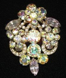 Vintage Crystal Aurora Borealis and Lavender Rhinestone Brooch Pin