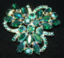 Vintage Emerald Aurora Borealis Rhinestone Brooch / Pin