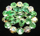 Pretty Vintage Peridot Green and Aurora Borealis Rhinestone Brooch / Pin