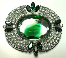 Elegant Emerald & Green Rhinestone Brooch / Pin with Large Center Stone