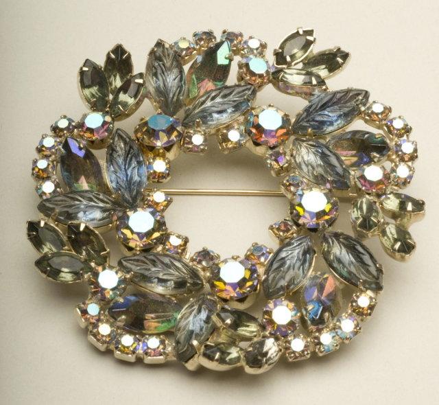 Vintage Light Sapphire, Smoke, and Aurora Borealis Rhinestone Wreath Brooch