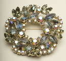 Vintage Light Sapphire, Smoke, and Aurora Borealis Rhinestone Wreath Brooch