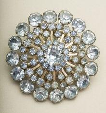Vintage Light Sapphire Rhinestone Sunburst Brooch