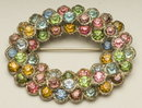 Vintage Multi-Color Rhinestone Oval Wreath Brooch