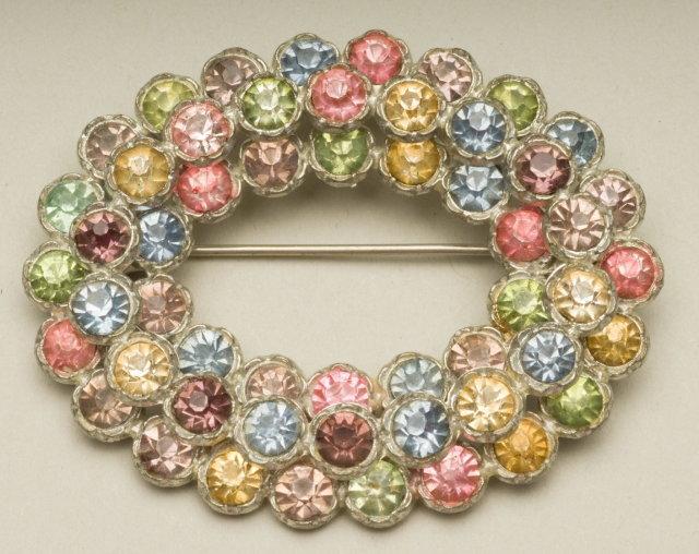 Vintage Multi-Color Rhinestone Oval Wreath Brooch