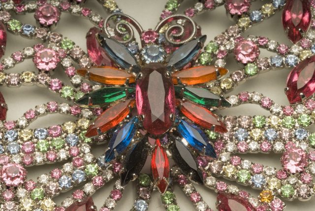 Magnificent  Vintage / Antique Multi-Color Rhinestone Butterfly Brooch