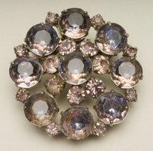 Vintage Round Rhinestone Brooch in Light Amethyst and Purple