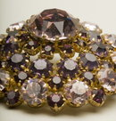 Vintage Round Rhinestone Brooch in Light Amethyst and Purple