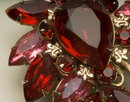 Vintage Ruby and Rose Marquise and Pear-Shaped Rhinestone Brooch
