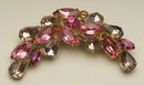Vintage Rose, Violet, & Fuchsia Rhinestone Brooch