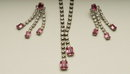 Vintage Crystal Rhinestone and Rose Emerald-Cut Glass Choker and Dangle Earrings