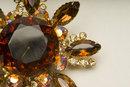 Vintage Smoked Topaz, Aurora Borealis, & Crystal Rhinestone Starburst Brooch