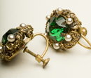 Antique Czech Emerald Glass, Faux Pearl, & Brass Filigree Earrings