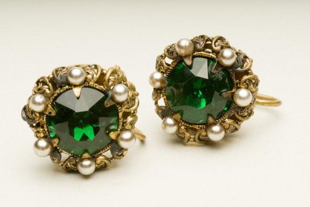 Antique Czech Emerald Glass, Faux Pearl, & Brass Filigree Earrings