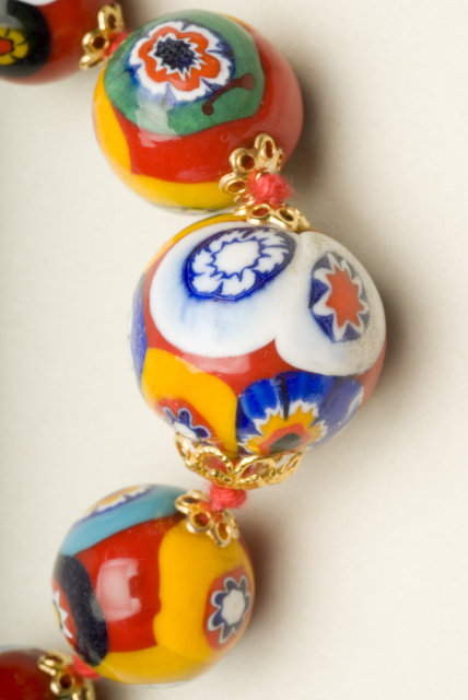 Vintage 24 Inch Graduated Millefiori Bead Necklace