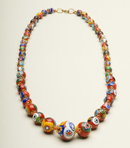 Vintage 24 Inch Graduated Millefiori Bead Necklace