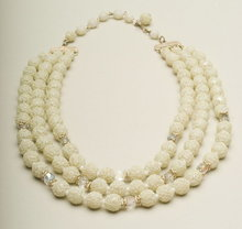 Vintage Three Strand White Sugar Bead & Crystal Necklace