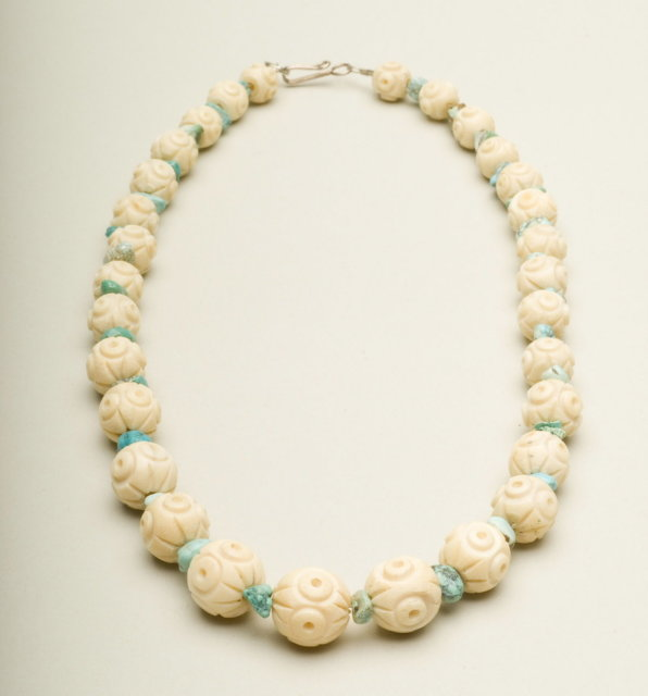 Vintage Carved Ivory Plastic Bead and Turquoise Stone Choker Necklace