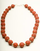 Vintage Carved Cinnabar and Silver Saucer Bead Necklace