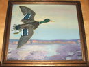 Framed Frank Scott Clark Oil on Canvas of Wild Mallard Duck in Flight