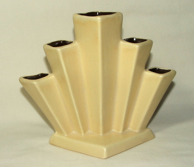 Art Deco Semi-Matte Yellow RumRill Pottery Fan Vase # 541