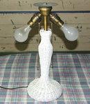 Antique White Wicker Two Light Table Lamp