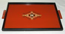 Art Deco Orange and Black Wood Tray