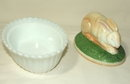 Vintage Westmoreland Hand-Painted Milk Glass Rabbit Dish