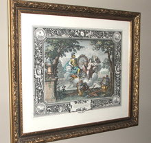 Framed Vintage / Antique French Lithograph - Charles le Brun