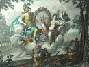 Framed Vintage / Antique French Lithograph - Charles le Brun