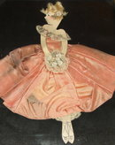 Art Deco Collage Drawing of Girl in Peach Dress