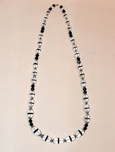 Vintage Black Jet and Crystal Necklace