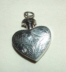 Vintage Sterling Silver Engraved Heart Perfume Pendant